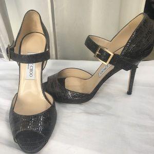 Jimmy Choo croc print heels